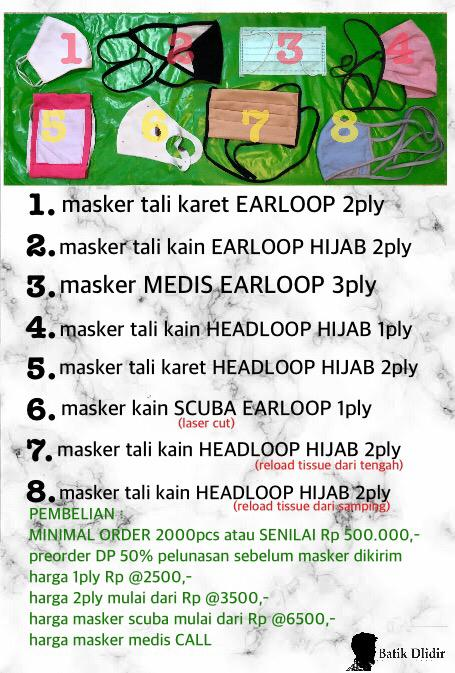 Jual Masker Kain Jakarta Harga Termurah Mulai Rp2.500/pcs